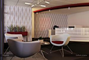 Гипсовые 3d панели Alivio серии Origami в офису Dupont Ukraine, 3д панель, 3d wallpanel, 3d wall interior design  цена купить Украина alivio.com.ua